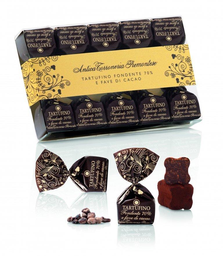 Confezione Tartufini dolci fondenti 70% e fave di cacao