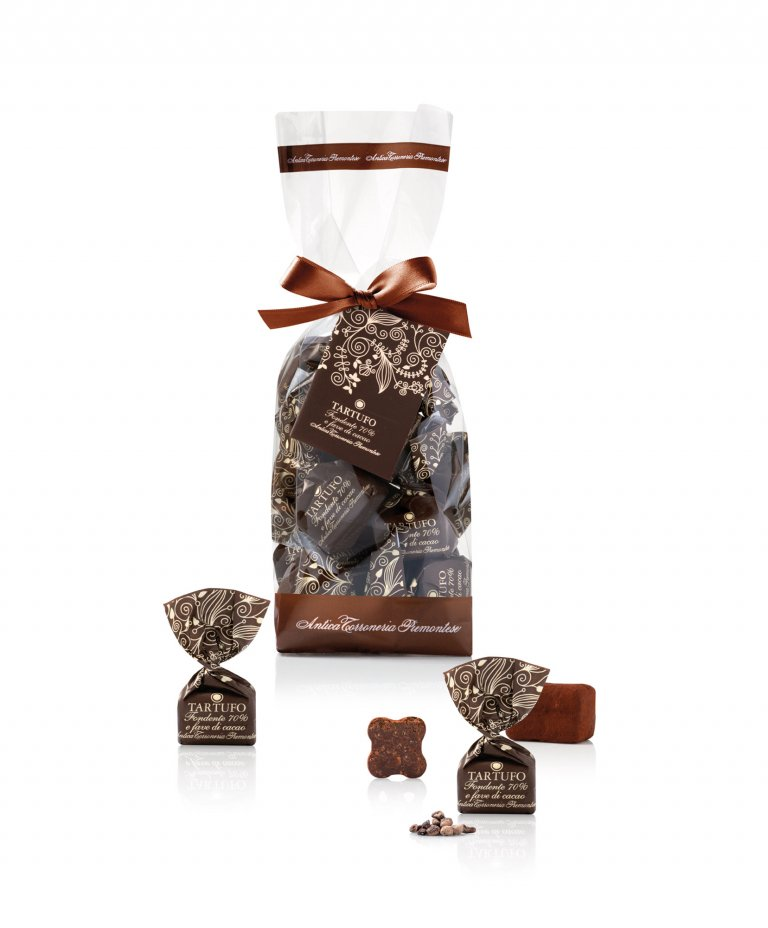 Tartufi dolci fondenti 70% e fave di cacao